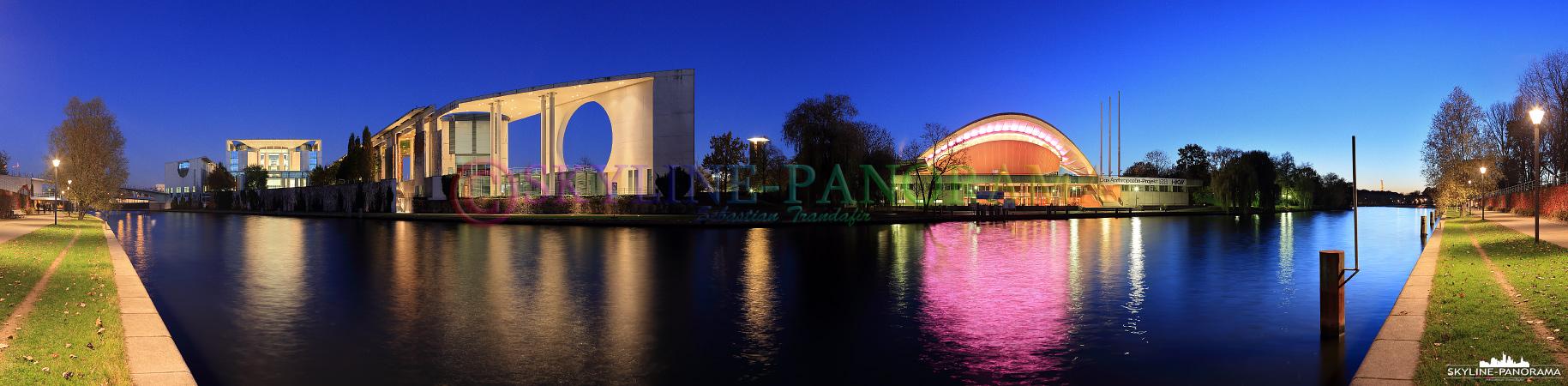 Bilder Berlin – Panorama aus der Bundesdeutschen Hauptstadt Berlin mit einem abendlichen Blick auf das Bundeskanzleramt und das Haus der Kulturen der Welt vom Magnus-Hirschfeld-Ufer an der Spree gesehen.