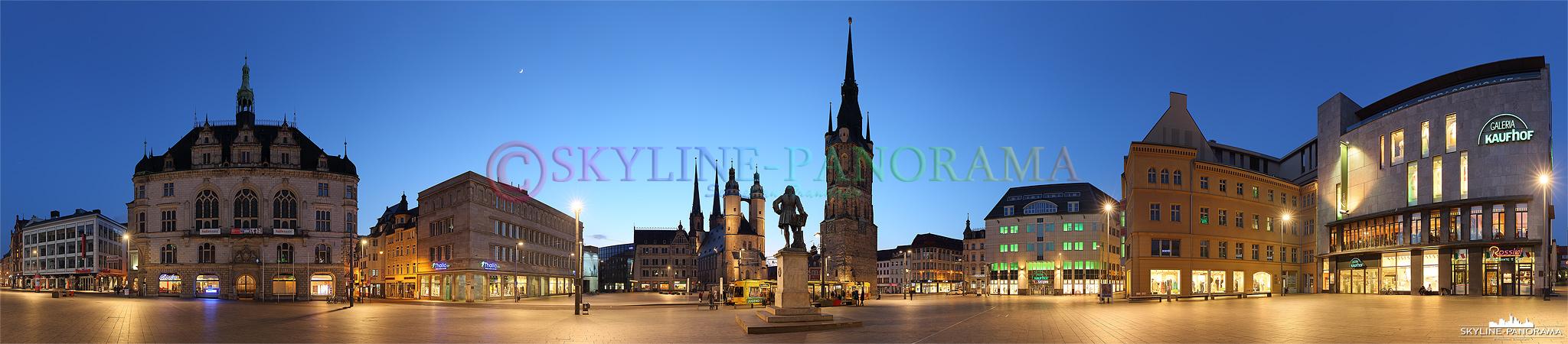 Bilder Halle Saale - Der abendlich beleuchtete Marktplatz von Halle an der Saale.