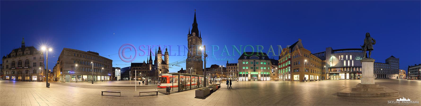 Der Marktplatz ist der größte Platz der Stadt Halle - dieses Panorama entstand in den Abendstunden und zeigt den Marktplatz in einer 360 Grad Ansicht.