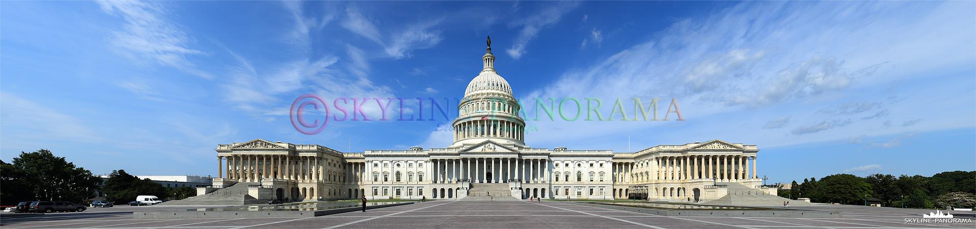 United States Capitol – Die Ostansicht vom Capitol, dem Sitz des Kongresses der Vereinigten Staaten von America. Das Panorama entstand am Tag.