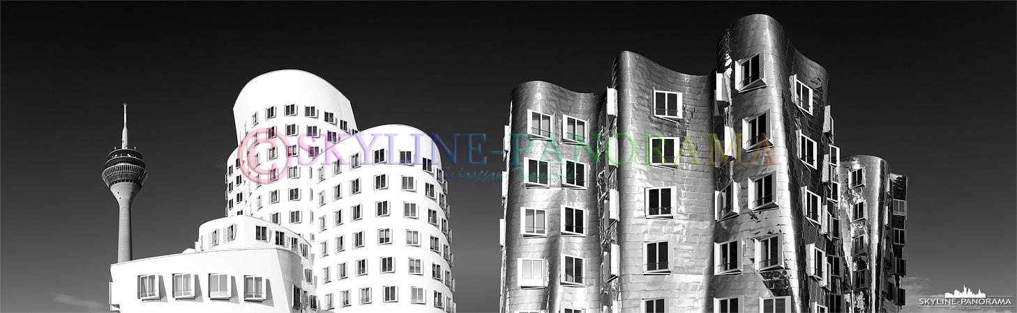 Bilder Düsseldorf – Ein Teil der Gehry-Bauten als Panorama in einer Schwarz-Weiss-Interpretation.