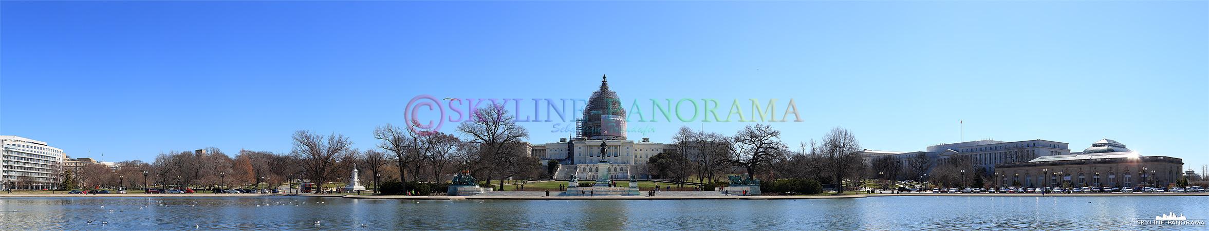 Bilder aus Washington - Das U.S. Capitol im Frühjahr 2015, zu diesem Zeitpunkt fanden umfangreiche Sanierungsarbeiten an der großen Kuppel statt.