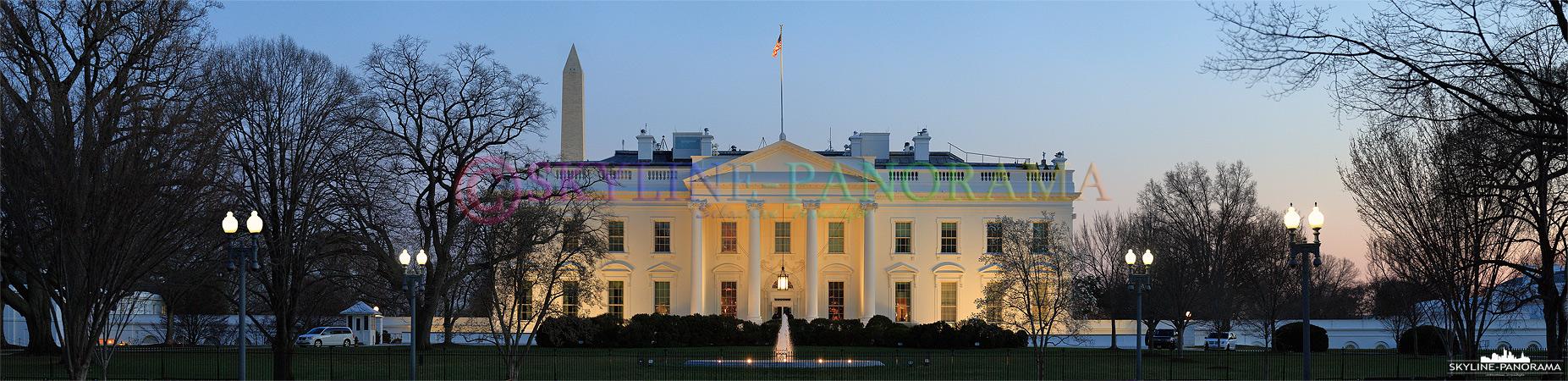 Washington am Abend - Abendliches Panorama der Vorderansicht des Weißen Hauses in Washington D.C.