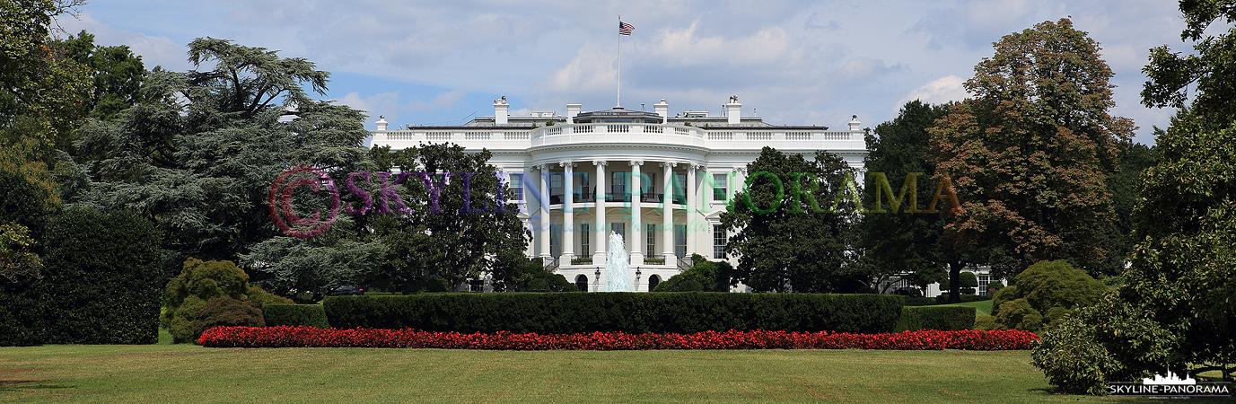 Bilder aus Washington D.C. – Außenansicht vom Weißen Haus, dem Amtssitz des Präsidenten der Vereinigten Staaten, in Washington D.C.
