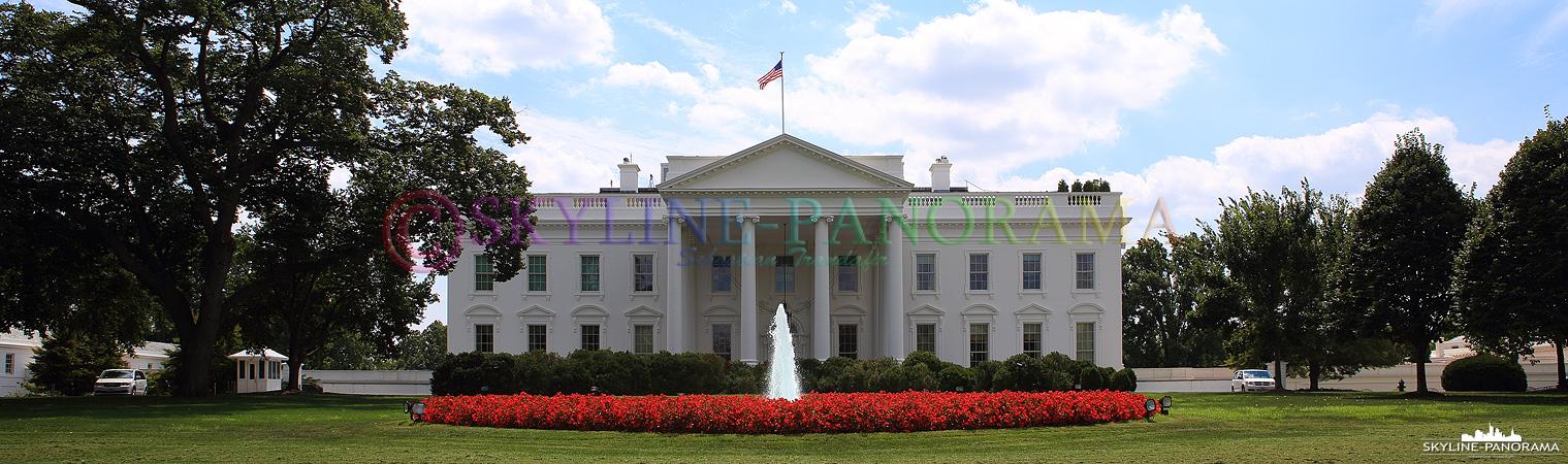 Sehenswürdigkeiten in Washington – Tagesansicht der Vorderseite des Weißen Hauses in Washington D.C.