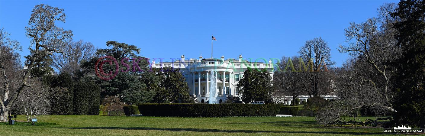 USA Sehenswürdigkeiten von Washington D.C. - Die Ansicht der Rückseite des Weißen Hauses.