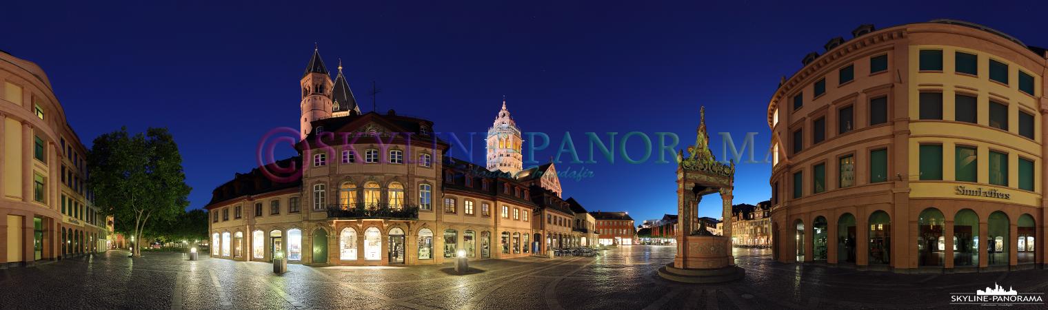 Bilder Mainz in der Blauen Stunde – Dieses Panorama zeigt den 360 Grad Blick vom Mainzer Marktplatz in Richtung Mainzer Dom und Marktbrunnen.
