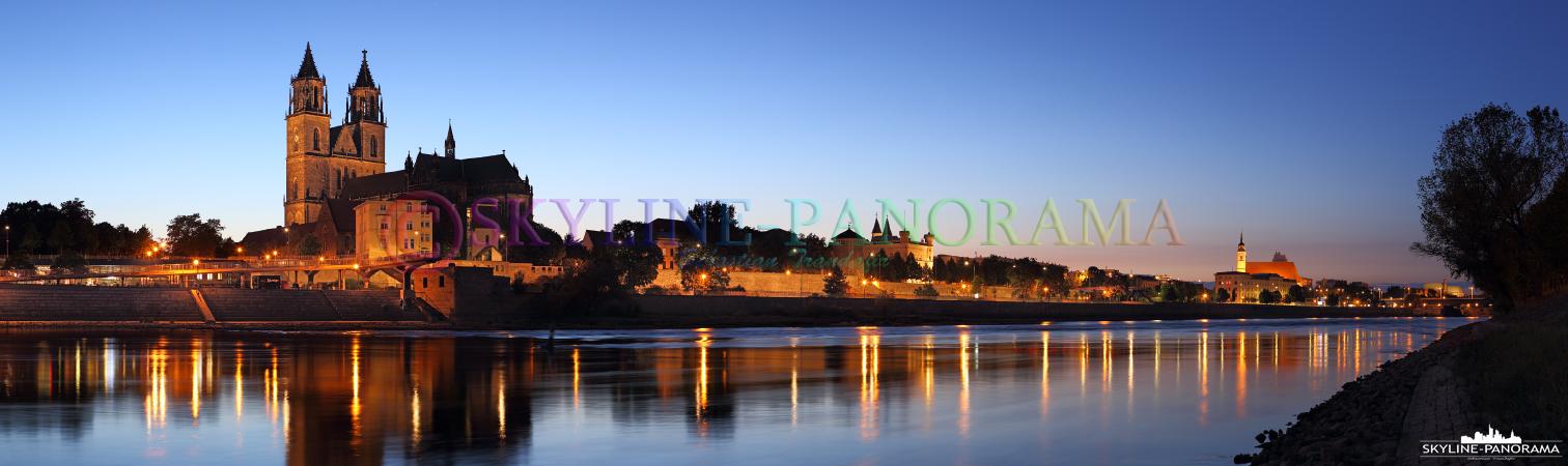 Bilder aus Magdeburg - Das Panorama vom Elbufer aus auf den Magdeburger Dom im Abendlicht.