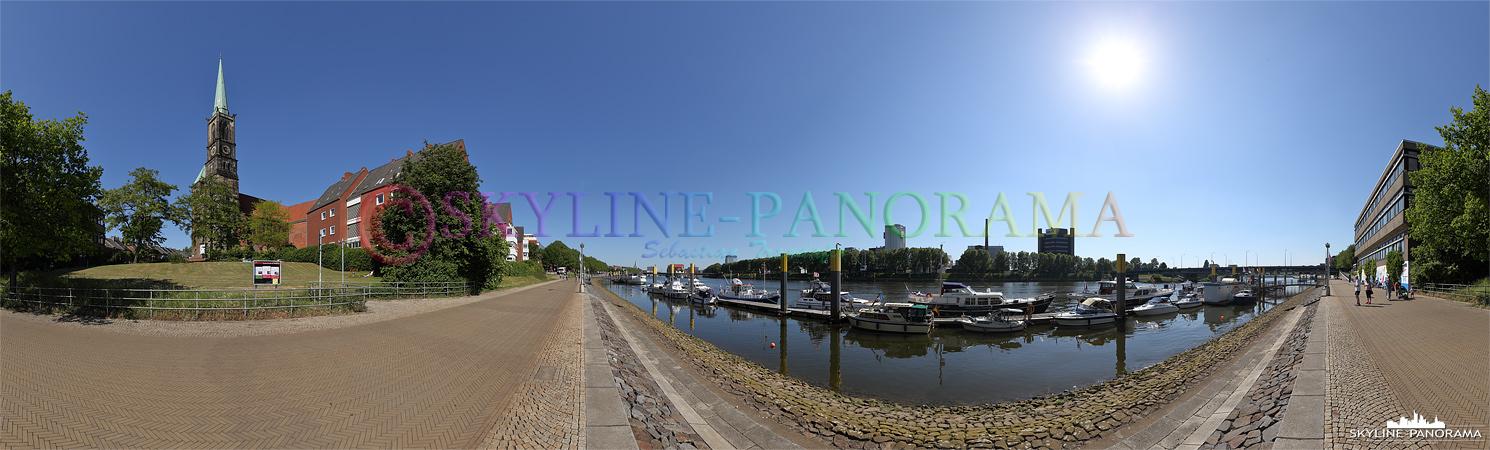 Bilder aus Bremen - Panoramaansicht der Weserpromenade in Bremen.