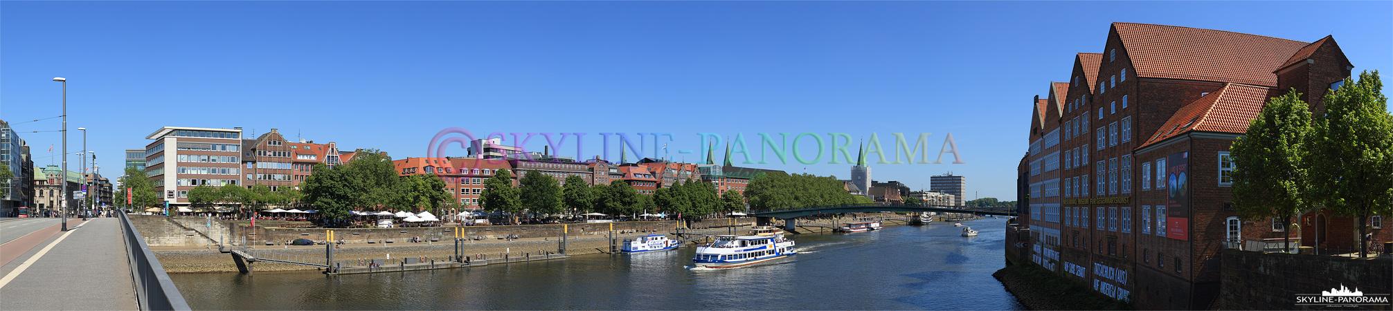 Hansestadt Bremen - Panoramablick von der Bürgermeister-Smidt-Brücke auf die Weserpromenade, die Schlachte und die Altstadt von Bremen.