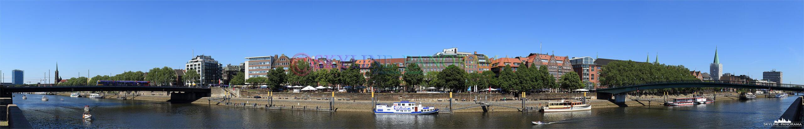 Bilder Bremen - Das Panorama von der Weserhalbinsel Teerhof aus, zwischen Bürgermeister-Smidt-Brücke und Teerhofbrücke, auf das Weserufer und die Altstadt von Bremen.