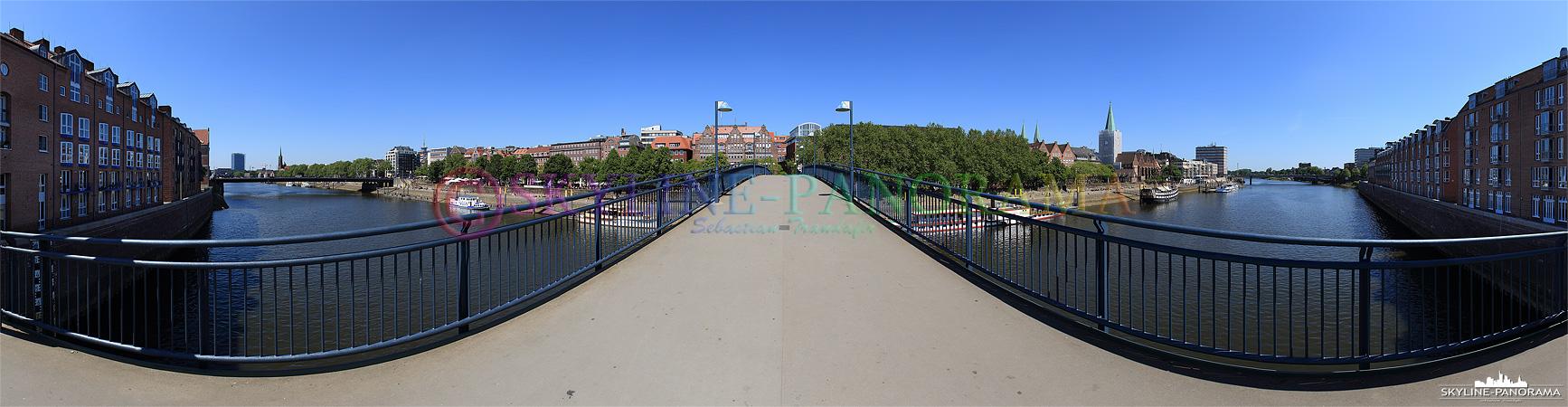 Bilder Bremen - Panorama der Teerhofbrücke in Bremen, sie verbindet die Weserhalbinsel Teerhof mit der Schlachte und der Altstadt von Bremen.