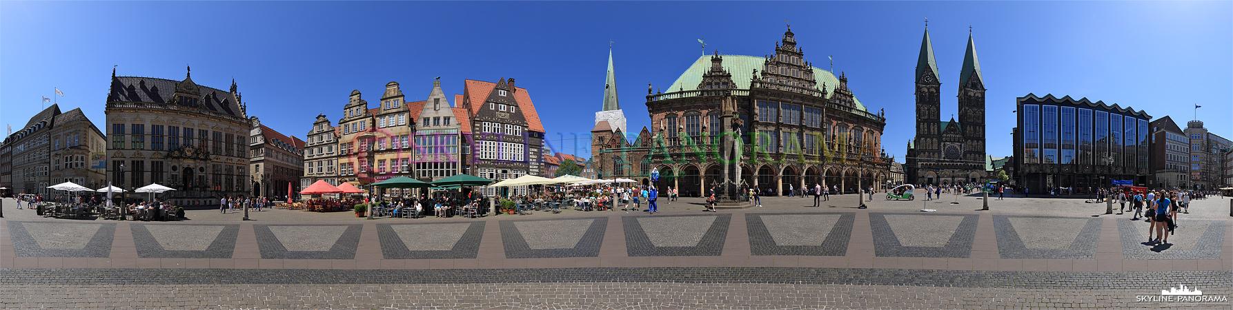 Sehenswürdigkeiten von Bremen - Dieses Panorama zeigt eine 360 Grad Ansicht des historischen Marktplatzes von Bremen.