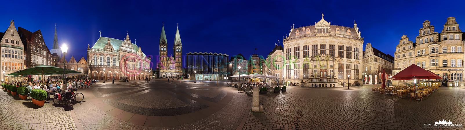 Bilder Bremen - Der historische Bremer Marktplatz als 360 Grad Panorama in der Dämmerung aufgenommen.