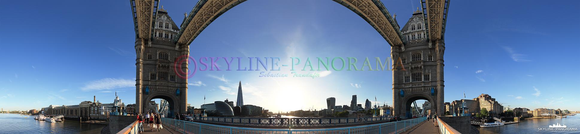 London Bilder am Tag – Hierbei handelt es sich um ein 360 Grad Panorama, welches den Blick von der Tower Bridge kurz vor dem Sonnenuntergang zeigt.
