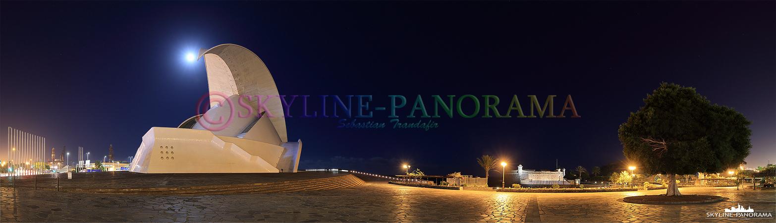 Bilder Teneriffa - Abendliches Panorama des Auditorios von Santa Cruz und des Castello di San Juan Bautista.