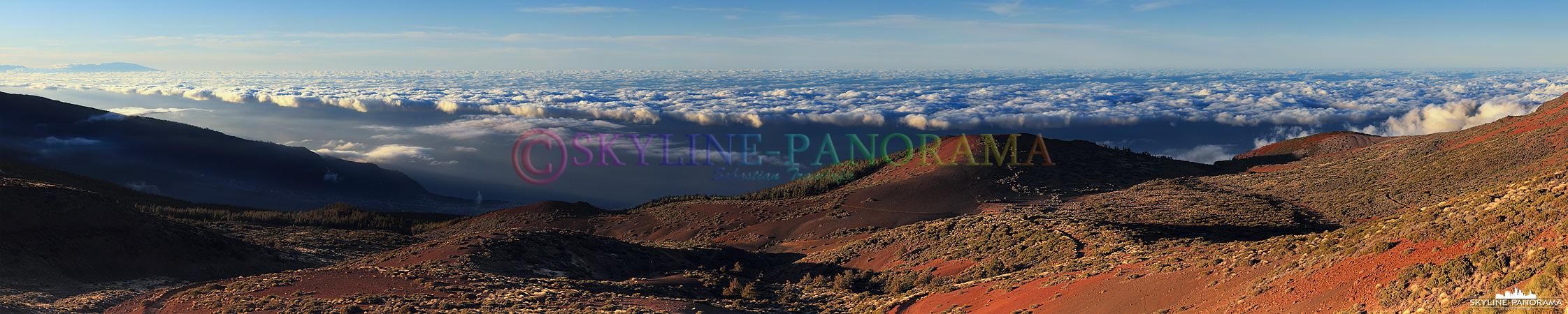 Bilder Insel Teneriffa - Das Panorama vom Teide Nationalpark, etwas unterhalb des Observatoriums, in Richtung Orotava Tal und Puerto de la Cruz.