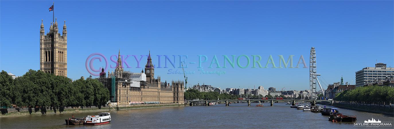 Bilder aus London - Das Panorama von der Lambeth Bridge in Richtung der Westminster Bridge.