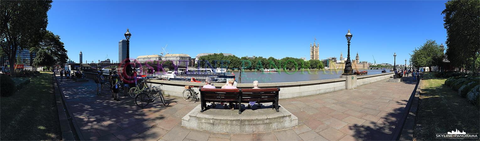 Panorama London - Das Themseufer in London zwischen der Lambeth Bridge und der Westminster Bridge.