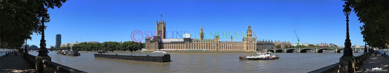 Bilder London - Tagpanorama des Westminster Palace mit Big Ben und der Westminster Bridge von Themseufer aus gesehen.
