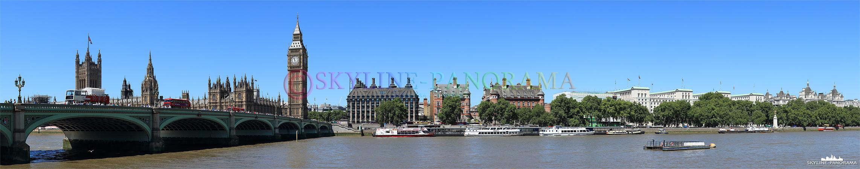 Bilder aus London - Das Londoner Themseufer im Stadtteil Westminster mit dem Panorama auf den Westminster Palace und Big Ben.