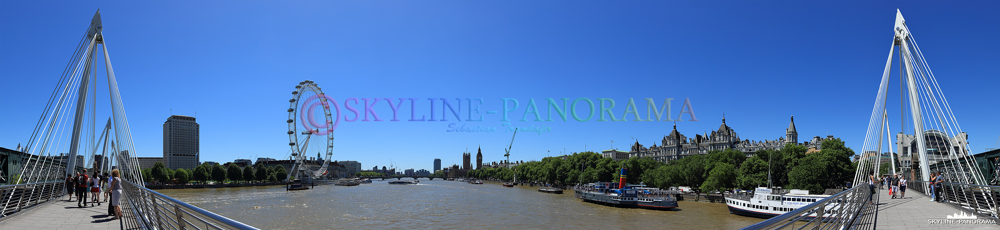 Bilder aus London - Das Panorama von der Hungerfort Bridge in Richtung London Eye und Westminster Palace mit Big Ben.