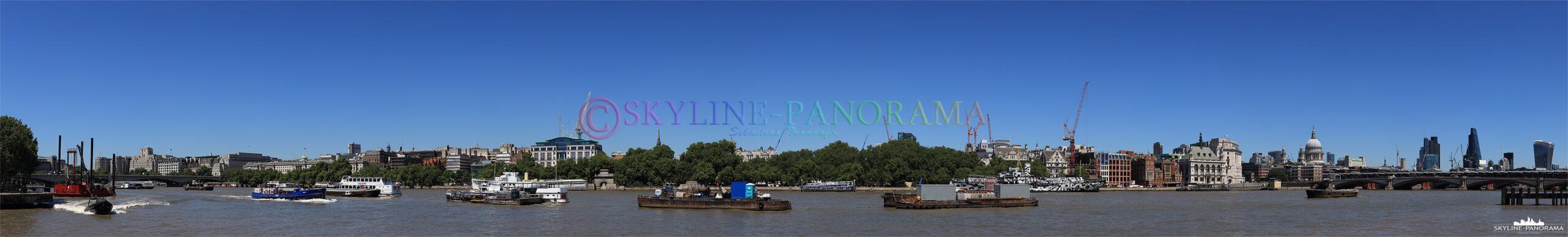 London Bilder - Das Themsepanorama vom südlichen Ufer aus zwischen Waterloo Bridge und Blackfriars Bridge.