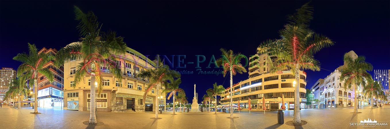 Bilder aus Teneriffa - Der Plaza de Candelaria ist einer der zentralen Plätze der Inselhauptstadt Santa Cruz, hier zu sehen als abendliches 360 Grad Panorama.