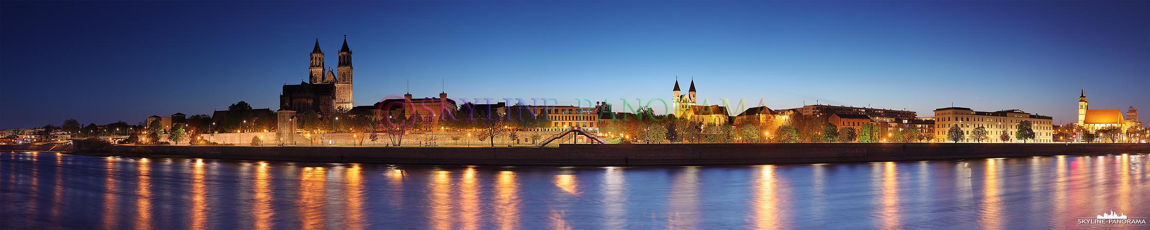 Panorama Magdeburg - Die abendliche Stadtansicht der Landeshauptstadt Magdeburg, das Panorama entstand am Elbufer zwischen der Hubbrücke und der Neuen Strombrücke.
