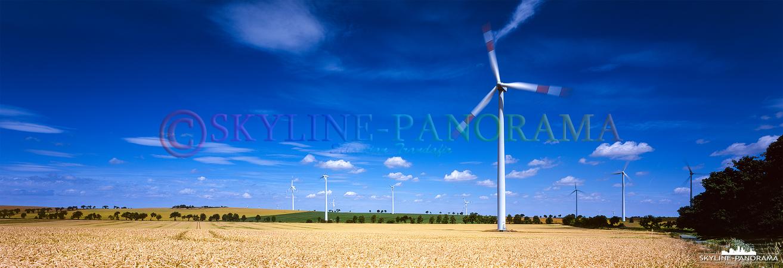 Windpark im Südharz - Mehrere Windkraftanlagen auf einem sommerlichen Getreidefeld als hochauflösendes Panorama im 6x17 Format.