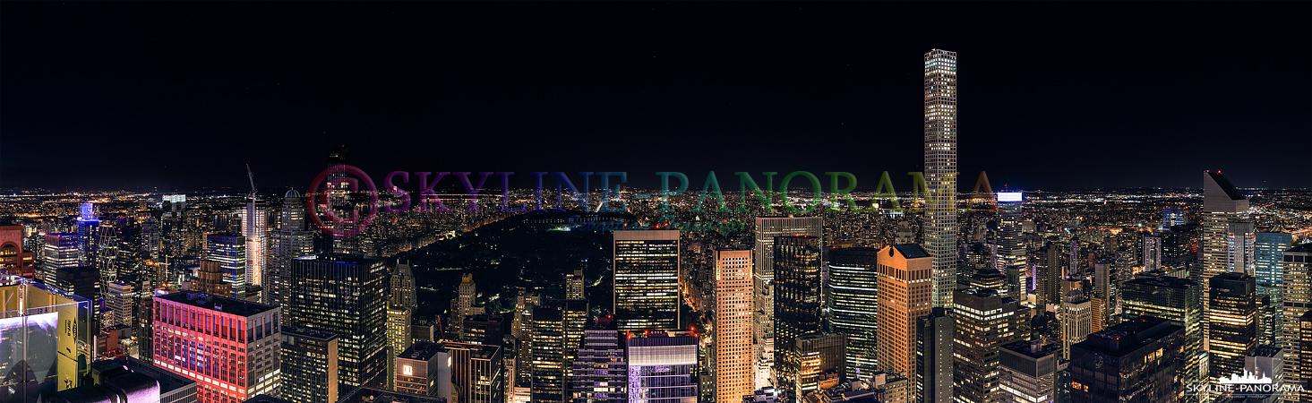 Bilder New York - Die Lichter von Manhattan als Panorama von der Aussichtsplattform Top of the Rock in Richtung Central Park. (unverkäuflich/ unsaleable)