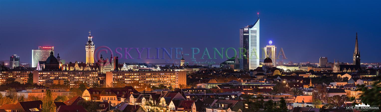 Bilder aus Sachsen - Die Stadtansicht von Leipzig als Skyline Panorama vom Fockeberg aus gesehen.