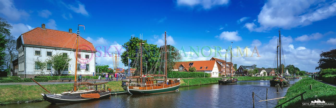 Bilder Ostfriesland - Panoramablick auf den Fluss Harle in Carolinensiel.