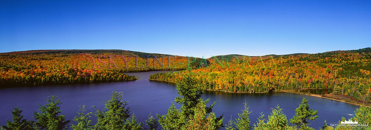 Kanada zum Indian Summer - 6x17 Panorama über den Lake Sacacomie in Saint-Alexis-des-Monts Kanada.