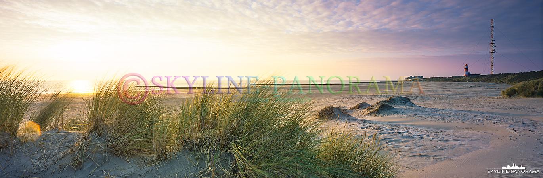 Nordsee Bilder – Die Dünen am Südstrand von Borkum in der Abendsonne mit dem Blick in Richtung des elektrischen Leuchtturms.