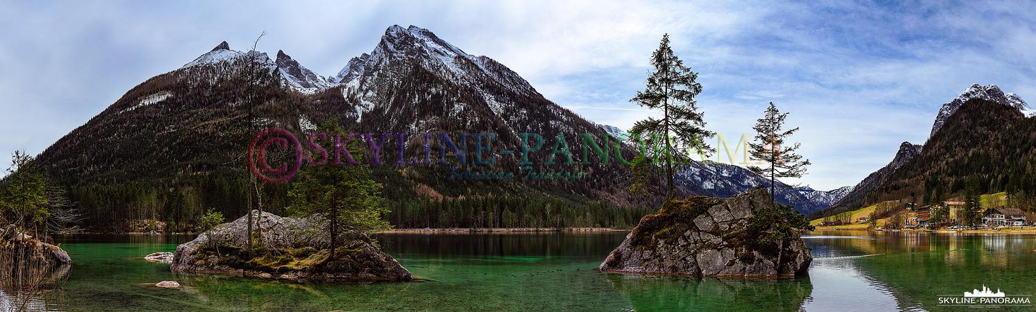 Bilder aus dem Berchtesgadener Land - Panorama aufgenommen am Hintersee bei Ramsau im Berchtesgadener Land.