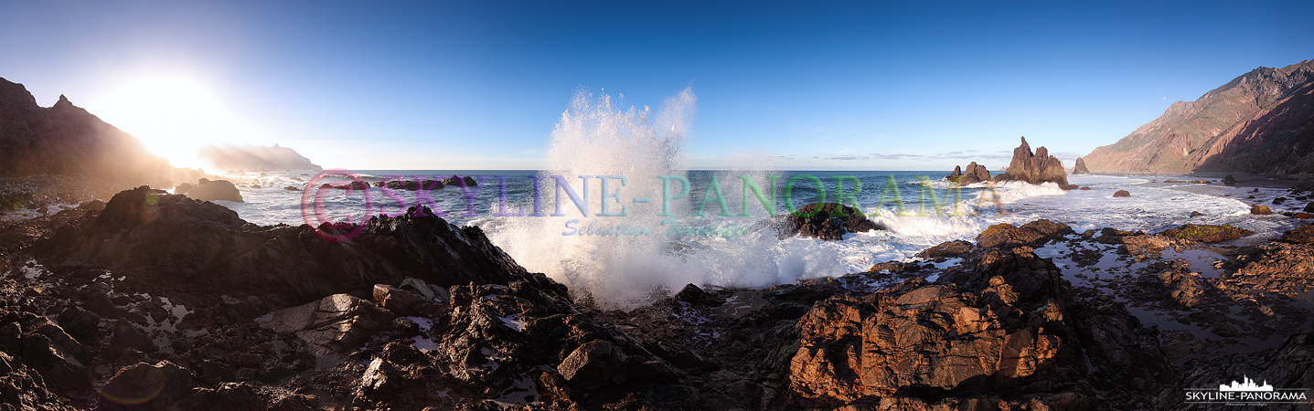Bilder Teneriffa - Dieses Panorama entstand am Playa de Benijo, etwas abseits vom Sandstrand. Durch seine abgeschiedene Lage, im Nordwesten der Insel Teneriffa
