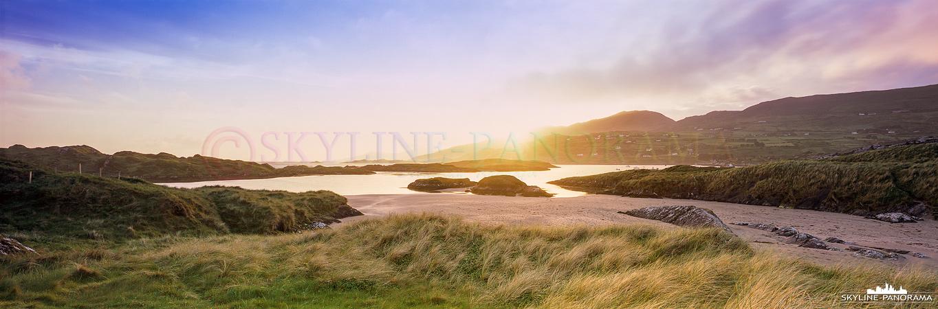6x17 Panorama - Dieses Motiv entstand auf einer Düne etwas abseits des langen Hauptstrands von Derrynane im letzen Licht des Sonnenuntergangs.