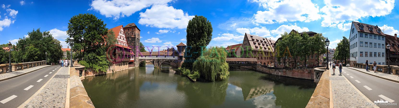 Panorama Pegnitz - Das Panorama von der Maxbrücke aus auf den bekannten Nürnberger Weinstadel und den historischen Henkersteg.