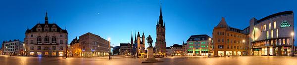 Panorama Halle Saale am Tag und am Abend