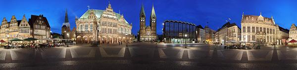 Bremen Panorama am Tag und am Abend