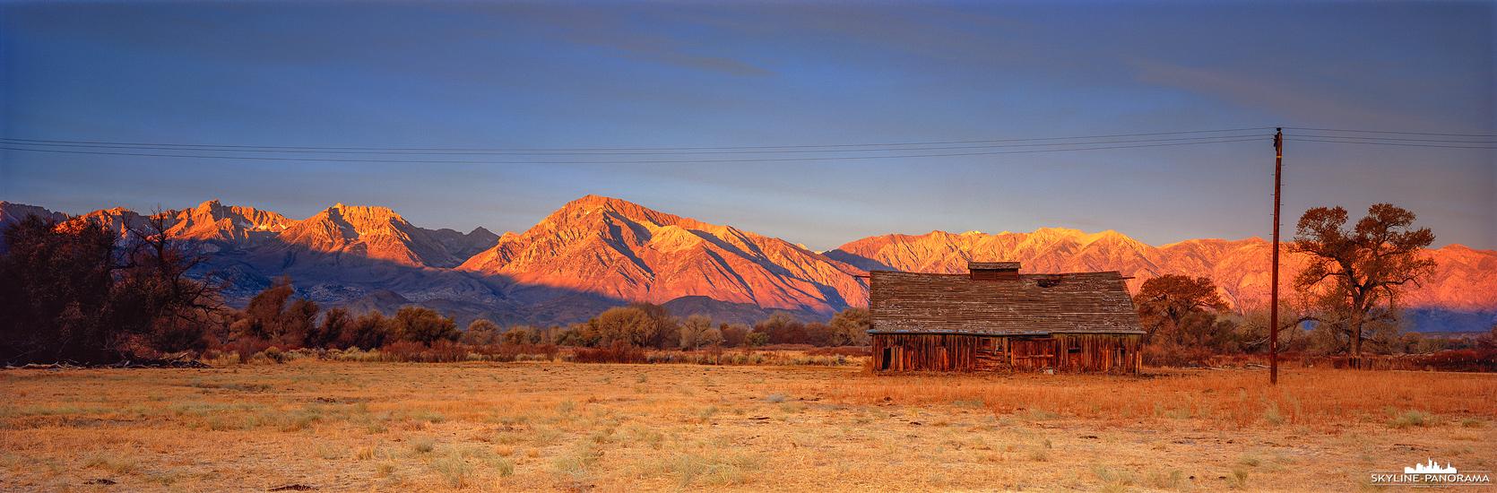 Die Sierra Nevada ist eine Gebirgskette im Westen der USA. Hier  von Bishop im Owens Valley, auf die Eastern Sierra, sie liegen östlich der Sierra Nevada...