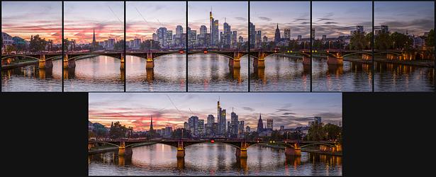 Skyline von Frankfurt als Panorama erstellt aus Einzelbildern