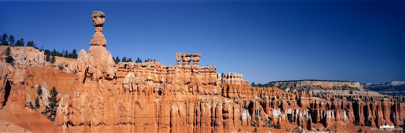 Der Bryce Canyon Nationalpark, im Südwesten von Utah gelegen, ist bekannt für seine Hoodoos genannten, einzigartigen Felsformationen, die im laufe vieler Jahrtausender durch Erosion entstanden sind. Auf diesem 6x17 Panorama ist Thors Hammer zu sehen, die Gesteinsformation ist eine der bekanntesten Hoodoos im Bryce Canyon.