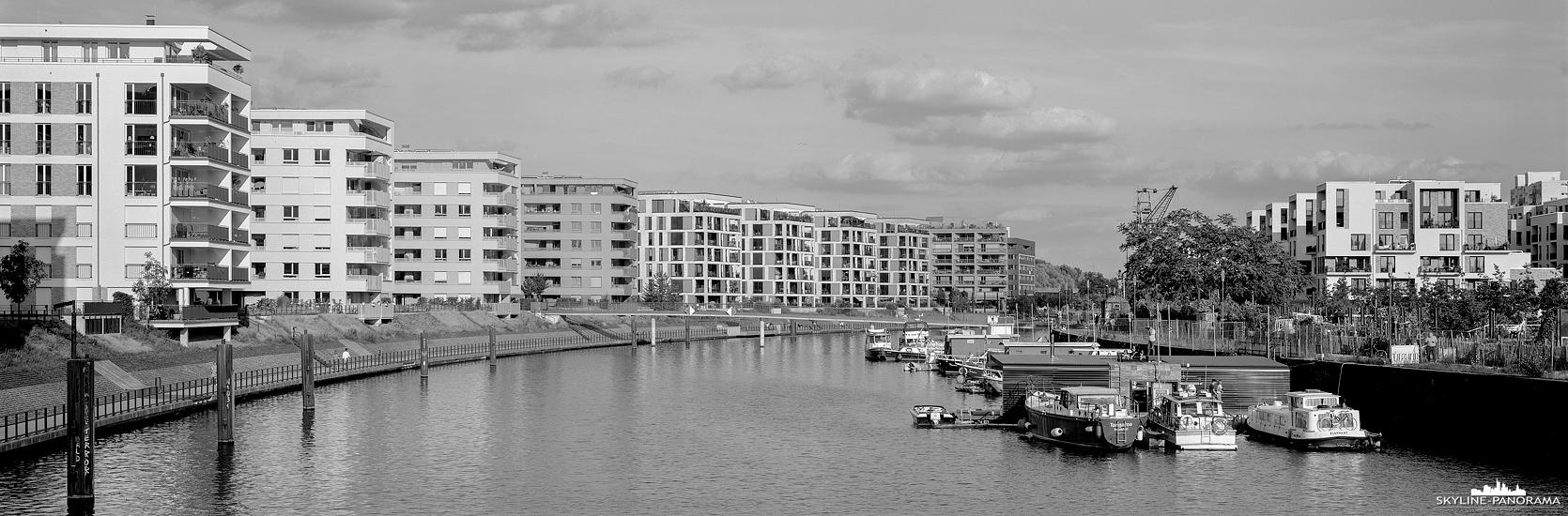 Stadtansicht von Offenbach - Moderner Wohnraum auf der Hafeninsel in Offenbachs neuem Stadtviertel, welches im ehemaligen Industriehafen am Mainbogen in den letzten Jahren entstanden ist.